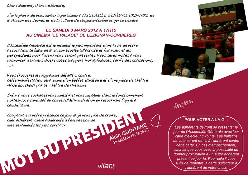 Samedi 3 Mars > Assemblée Générale de la MJC