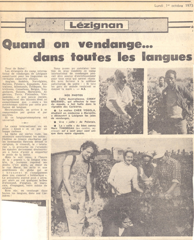 Historique du camp international de vendanges