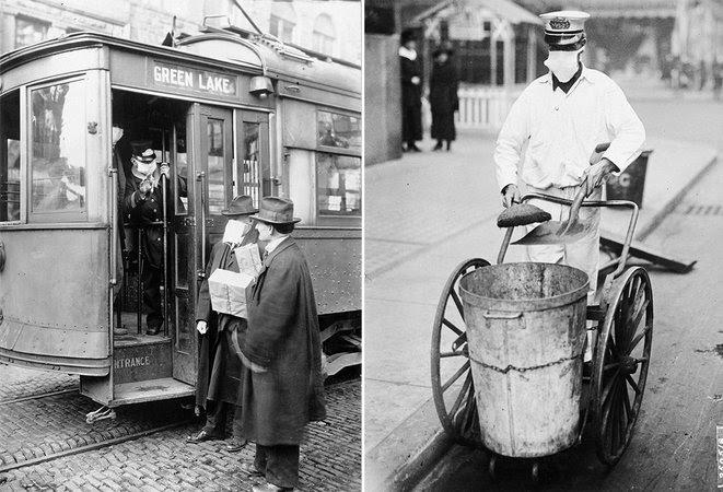 6.À gauche : Pendant l'épidémie de grippe espagnole, personne ne pouvait monter dans les tramways de Seattle sans porter un masque /    À droite :Balayeur des rues à New York.