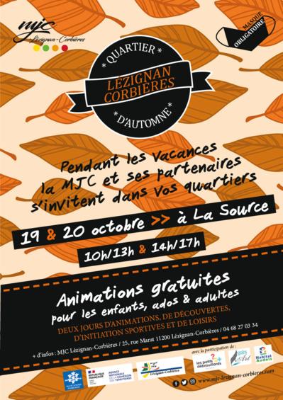 Lundi 19 et mardi 20 octobre, Quartier d'automne à La Source