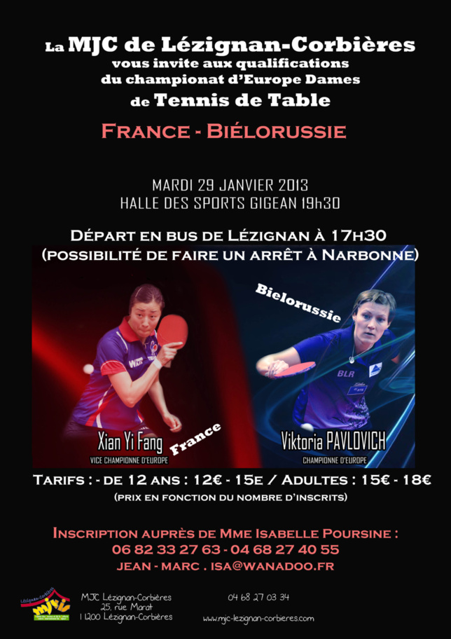 TENNIS DE TABLE >> MATCH DE QUALIFICATION DAMES FRANCE - BIÉLORUSSIE