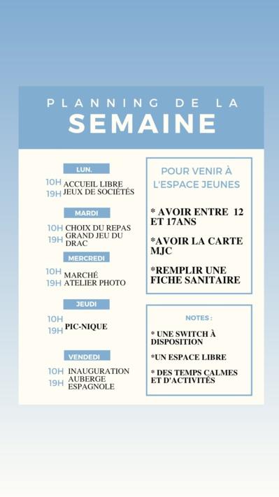 Espace Jeunes, programme du 05 au 09/07