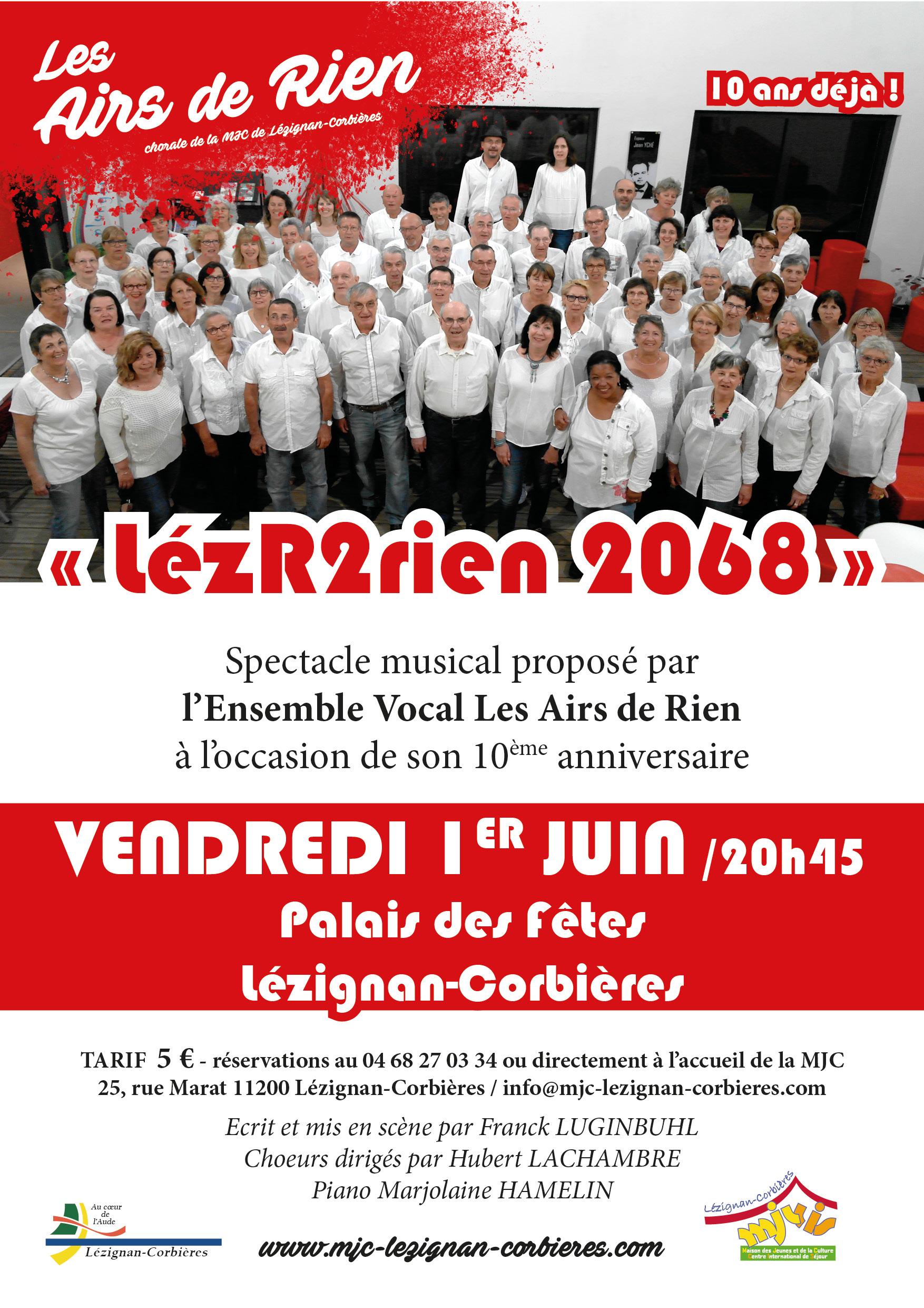 VENDREDI 1erJUIN >> Comédie musicale  « Les Airs de Rien 2068 »