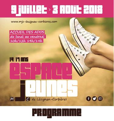 Espace Jeunes >> le programme des vacances d'été 2018