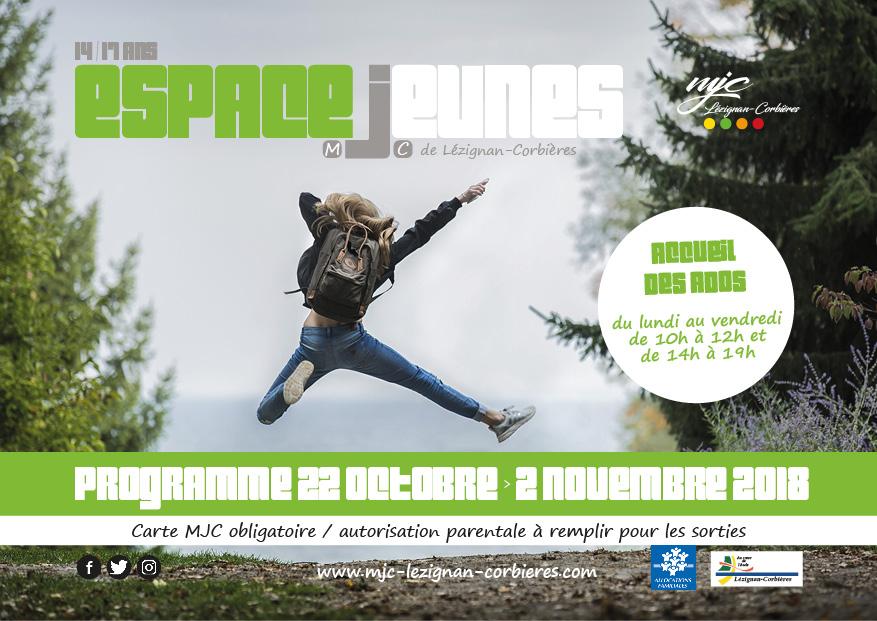 Espace Jeunes >> le programme des vacances d'octobre 2018