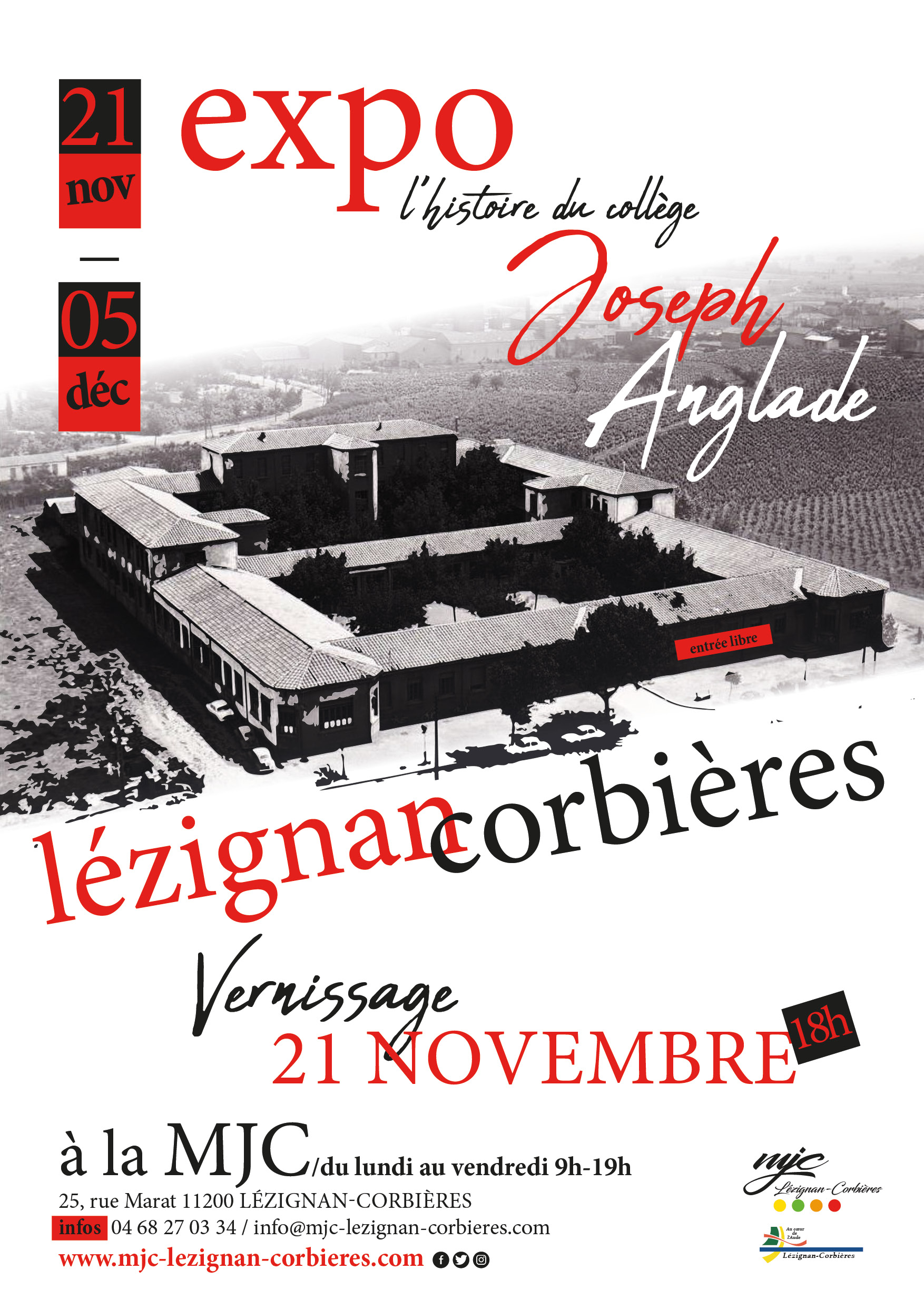 """EXPO """"L'histoire du Collège Joseph Anglade"""" >> du 21 Novembre au 5 Décembre"""