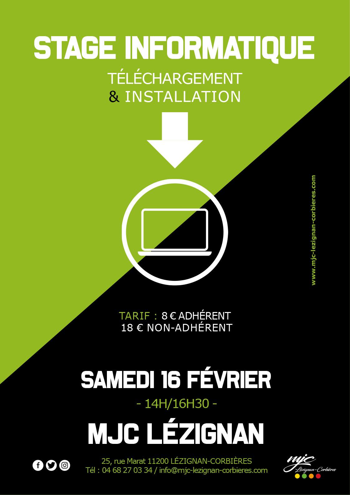 Samedi 16 février >> INFORMATIQUE : téléchargement & installation