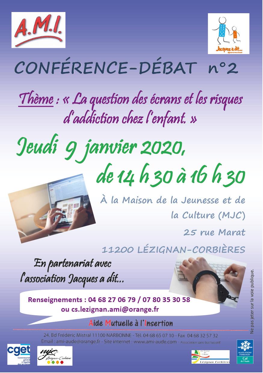 Jeudi 9 janvier >> Conférence/débat - La question des écrans et les risques d'addiction chez l'enfant
