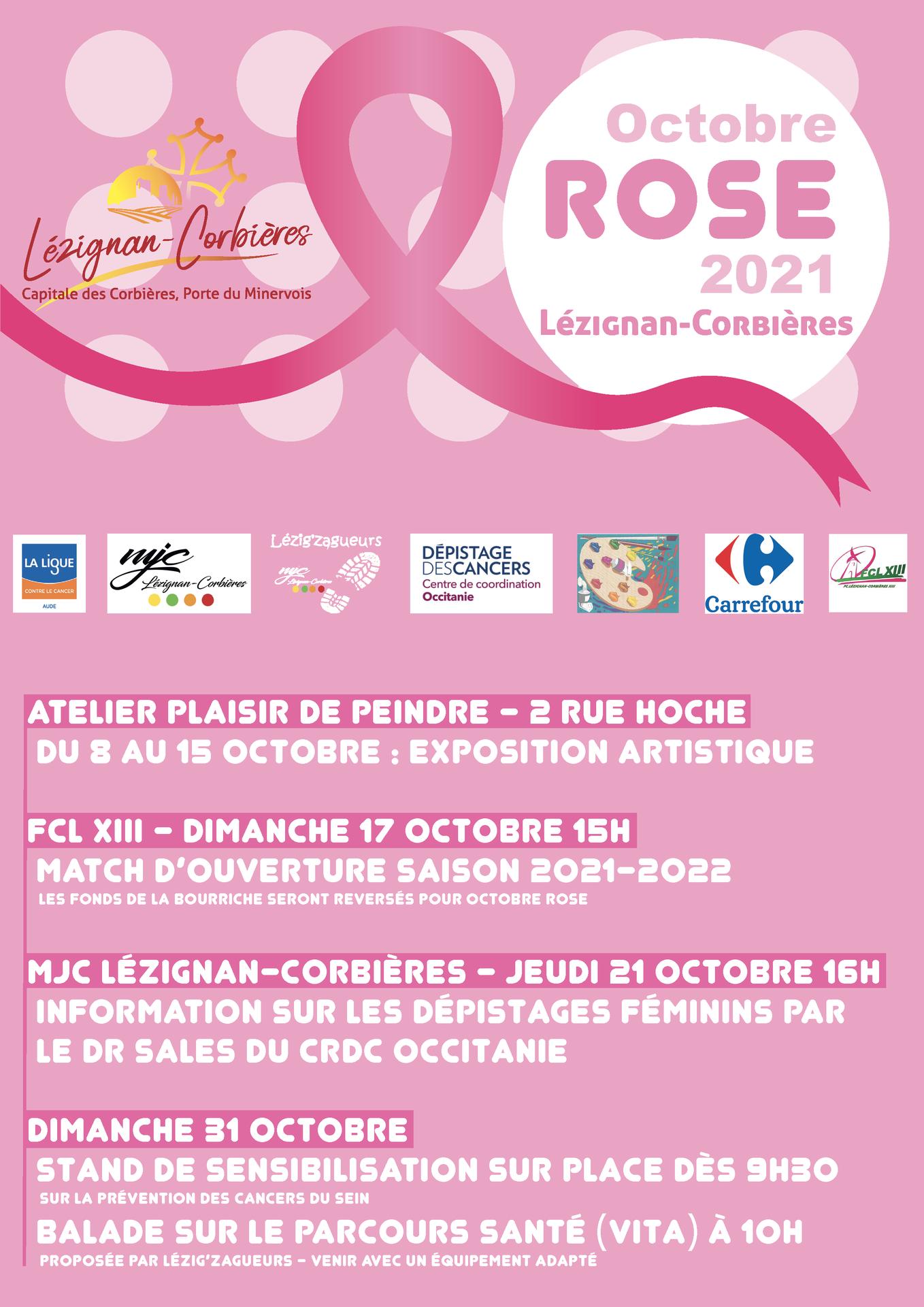 La MJC participe à Octobre Rose, les 21 et 31/10