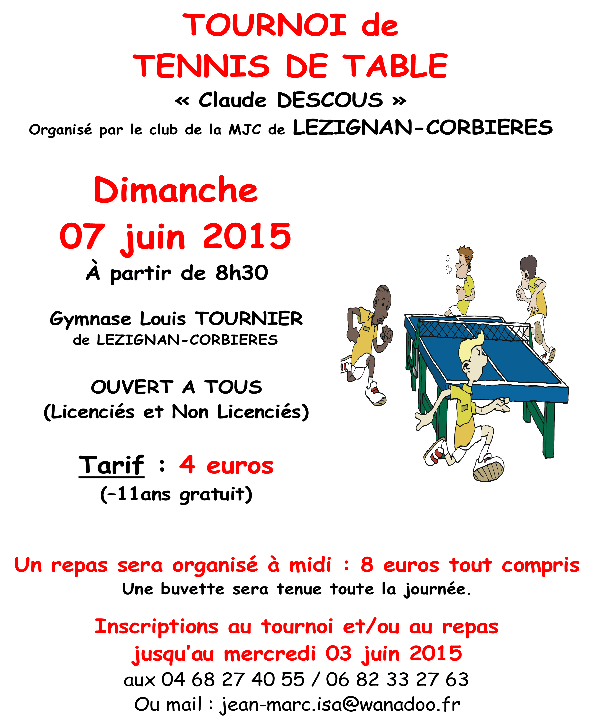 TENNIS DE TABLE >> TOURNOI CLAUDE DESCOUS