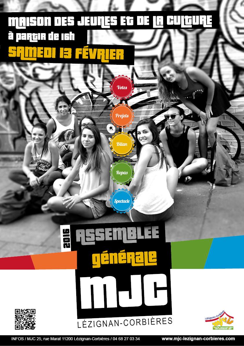Le samedi 13 Février >> l'Assemblée Générale de la MJC 2016