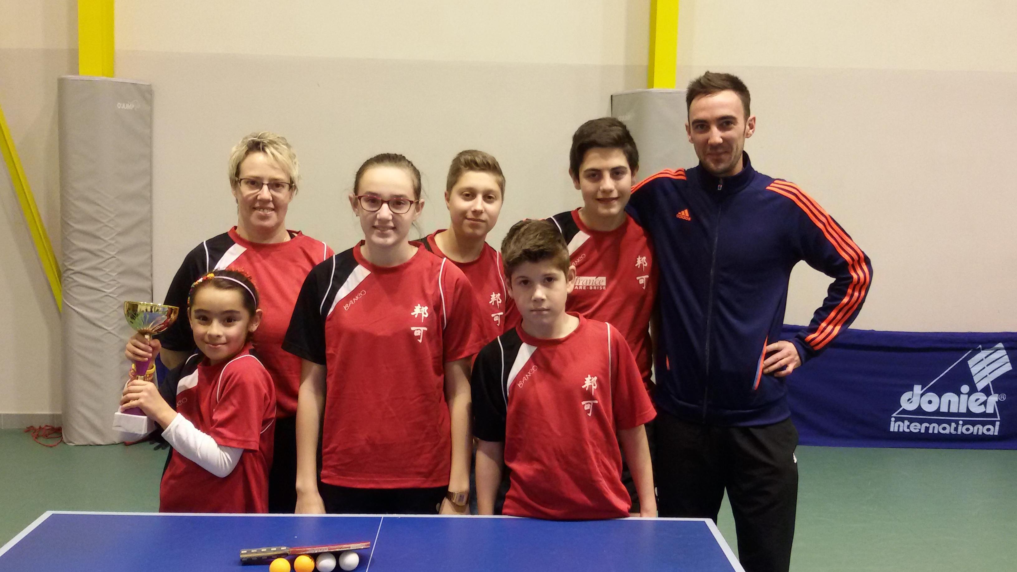 De gauche à droite : Vanessa Gomez, Isabelle Poursine, Morgane Poursine, Florian De Angeli, Maxence Rouger, Clément Andreu et Thomas Saez (entraineur).